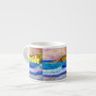 arte de la soledad de la playa taza espresso