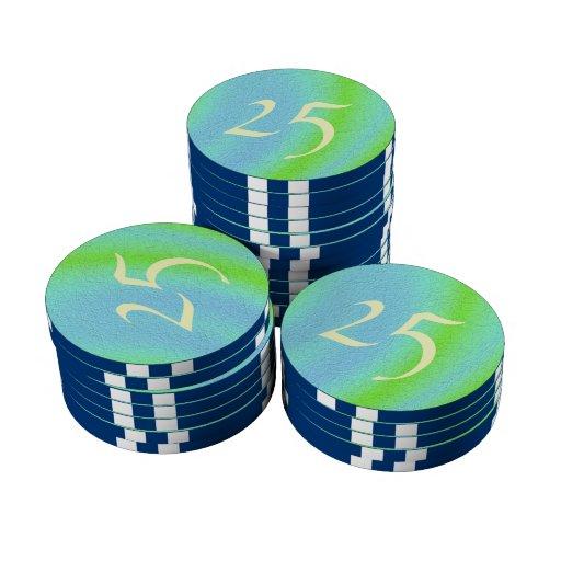 Arte de la textura del azul y del verde fichas de póquer
