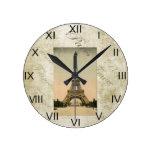 Arte de la torre Eiffel del estilo del vintage Relojes De Pared
