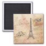Arte de la torre Eiffel del vintage Imanes De Nevera