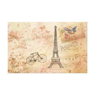 Arte de la torre Eiffel del vintage Lienzo Envuelto Para Galerias
