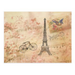 Arte de la torre Eiffel del vintage Postal