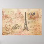Arte de la torre Eiffel del vintage Poster