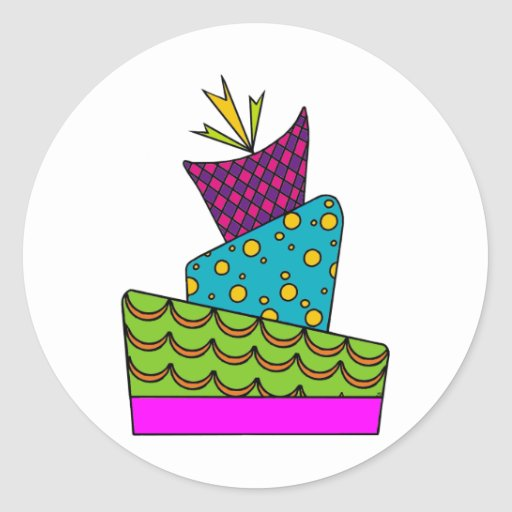 Arte de la torta pegatina redonda