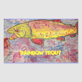 arte de la trucha arco iris pegatina rectangular