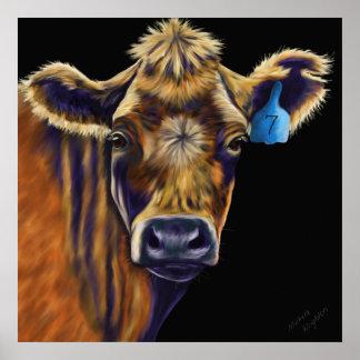 Arte de la vaca - número afortunado siete impresiones