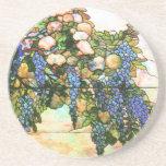 Arte de la vid de las glicinias del vitral de Tiff Posavasos Para Bebidas