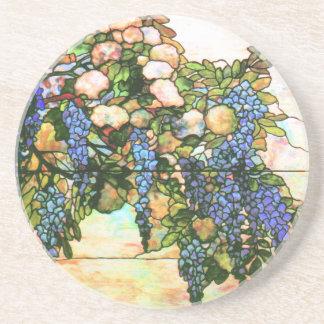 Arte de la vid de las glicinias del vitral de Tiff Posavasos Personalizados
