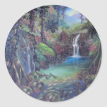Arte de las cascadas del río del paisaje de la pegatinas redondas