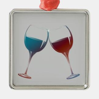 Arte de las copas de vino de la chispa que adorno navideño cuadrado de metal