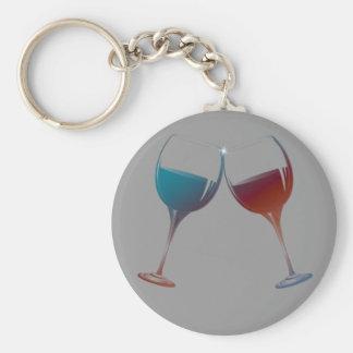 Arte de las copas de vino de la chispa que tintine llaveros personalizados
