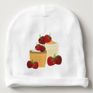 Arte de las fresas y de las magdalenas del verano gorrito para bebe