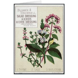 Arte de las hierbas del vintage tarjeta de felicitación
