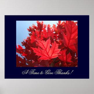 ¡Arte de las hojas de otoño una época de dar graci Impresiones