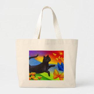 Arte de las mariposas de la pintura del gato negro bolsa