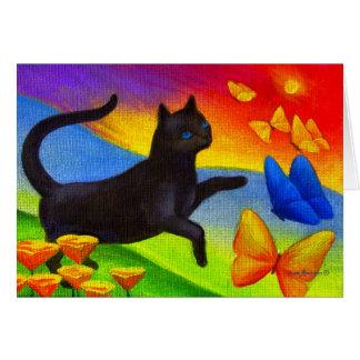 Arte de las mariposas de la pintura del gato negro tarjetón