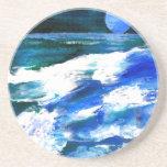 Arte de las olas oceánicas de la canción de la lun posavasos cerveza