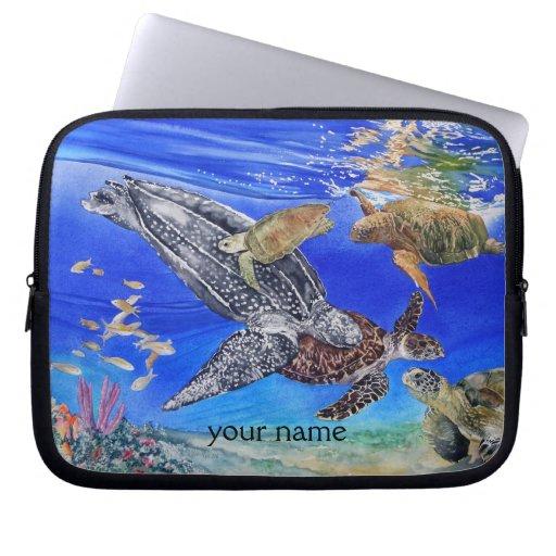 Arte de las tortugas de mar personalizado mangas computadora