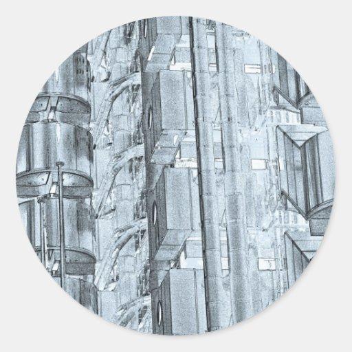 Arte de Londres del edificio de Lloyd Pegatina Redonda