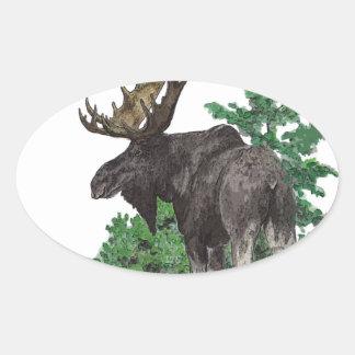 Arte de los alces de Bull Pegatina Ovalada