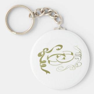 Arte de los anillos y de los arcos de oro llavero redondo tipo pin