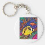 Arte de los Butterflyfish y del Seahorse del mapac Llaveros Personalizados