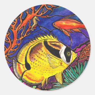 Arte de los Butterflyfish y del Seahorse del mapac Etiqueta Redonda