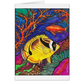 Arte de los Butterflyfish y del Seahorse del mapac Tarjetón