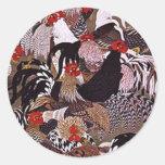 Arte de los gallos del vintage pegatina redonda