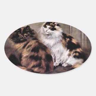 Arte de los gatos persas de la concha pegatina ovalada