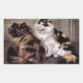Arte de los gatos persas de la concha pegatina rectangular