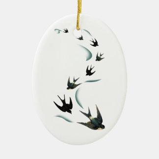 Arte de los pájaros del trago del vintage adorno navideño ovalado de cerámica