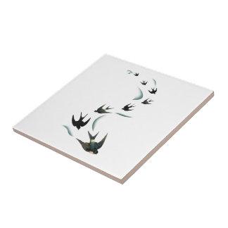 Arte de los pájaros del trago del vintage azulejo cuadrado pequeño