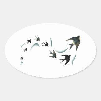 Arte de los pájaros del trago del vintage pegatina ovalada