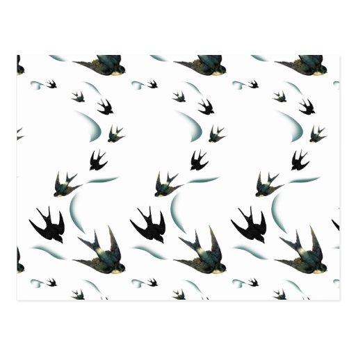 Arte de los pájaros del trago del vintage postal
