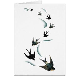 Arte de los pájaros del trago del vintage tarjeta pequeña