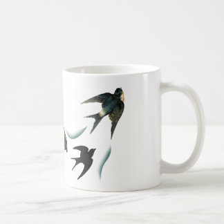 Arte de los pájaros del trago del vintage taza básica blanca