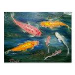 Arte de los pescados de Koi de la natación Postal