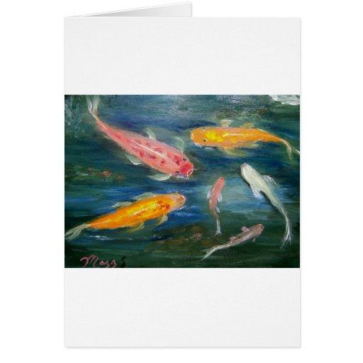 Arte de los pescados de Koi de la natación Tarjetas
