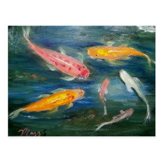 Arte de los pescados de Koi de la natación Tarjeta Postal