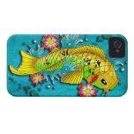 Arte de los pescados de Koi iPhone 4 Case-Mate Cárcasa