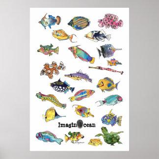 Arte de los pescados del dibujo animado de ImaginO Posters