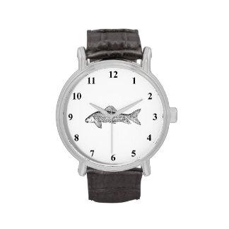 Arte de los pescados del lechón reloj de mano