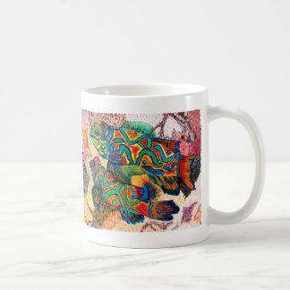 Arte de los pescados del mandarín tazas de café