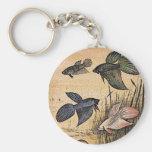 Arte de los pescados llavero redondo tipo pin