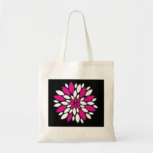 Arte de los pétalos del rosa fuerte y blanca de la bolsas de mano