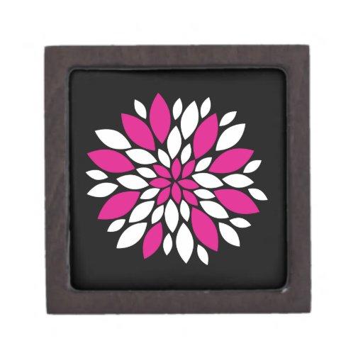 Arte de los pétalos del rosa fuerte y blanca de la cajas de joyas de calidad