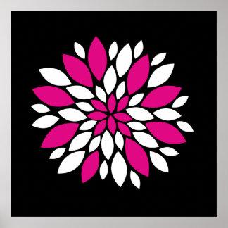 Arte de los pétalos del rosa fuerte y blanca de la posters