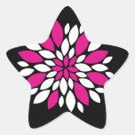Arte de los pétalos del rosa fuerte y blanca de la calcomanía cuadrada
