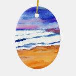 Arte de los regalos de la decoración de las olas adorno ovalado de cerámica